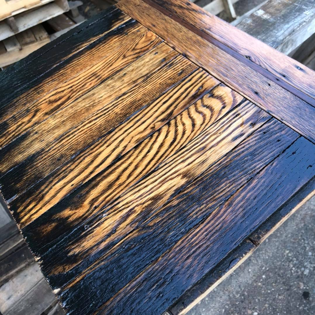 """We saved some of the original """"parquet"""" flooring from the Oaklands. These are 1/"""