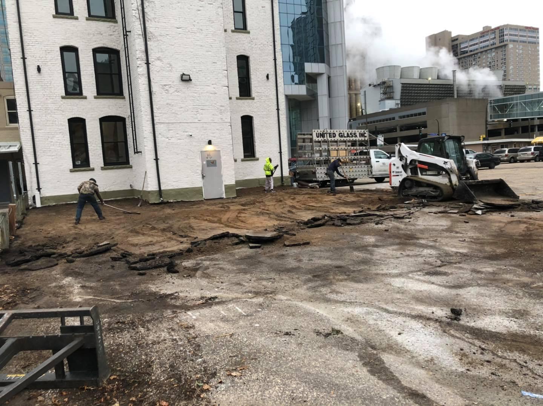 Tearing up the parking lot. Big job ahead.