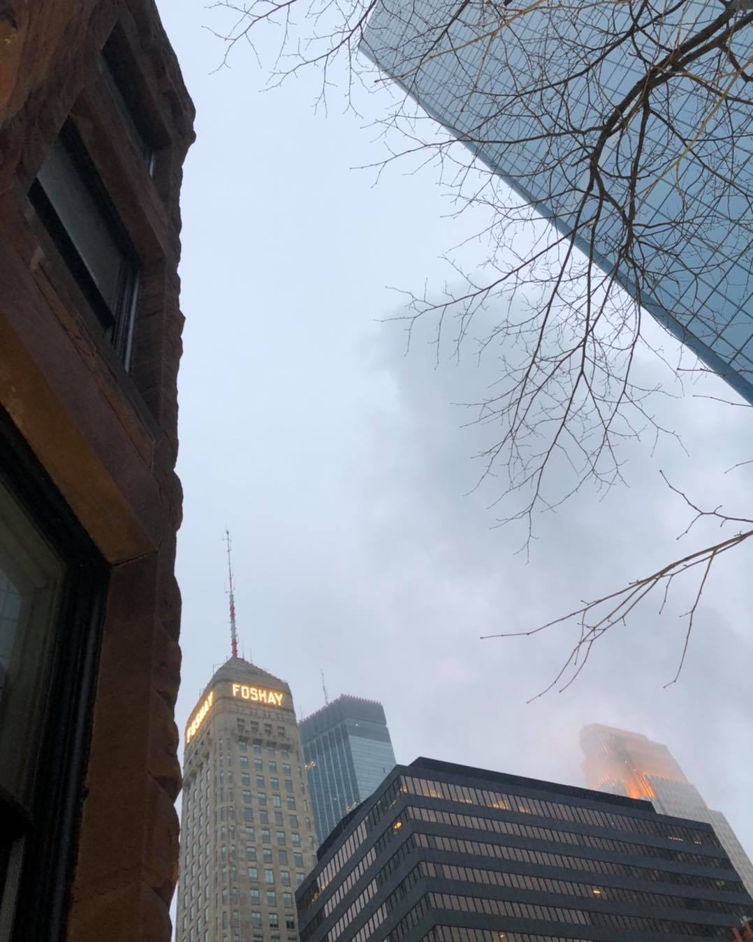 Misty mornings downtown when the skyscrapers disappear into the clouds.