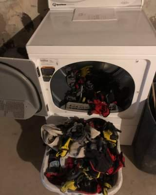 Our laundry room is operational!!! The first load of laundry was all of our work